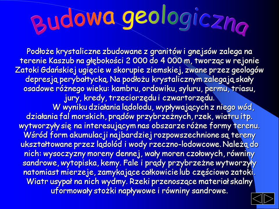 Podłoże krystaliczne zbudowane z granitów i gnejsów zalega na terenie Kaszub na głębokości 2 000 do 4 000 m, tworząc w rejonie Zatoki Gdańskiej ugięcie w skorupie ziemskiej, zwane przez geologów depresją perybałtycką.