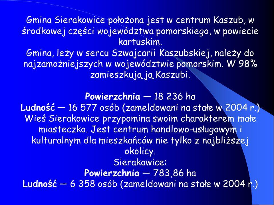 Gmina Sierakowice położona jest w centrum Kaszub, w środkowej części województwa pomorskiego, w powiecie kartuskim. Gmina, leży w sercu Szwajcarii Kas
