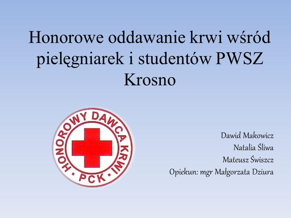Honorowe oddawanie krwi wśród pielęgniarek i studentów PWSZ Krosno Dawid Makowicz Natalia Śliwa Mateusz Świszcz Opiekun: mgr Małgorzata Dziura