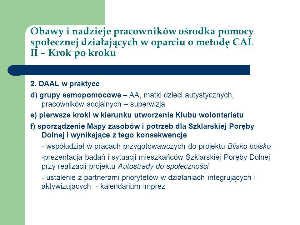 Obawy i nadzieje pracowników ośrodka pomocy społecznej działających w oparciu o metodę CAL II – Krok po kroku 2. DAAL w praktyce d) grupy samopomocowe
