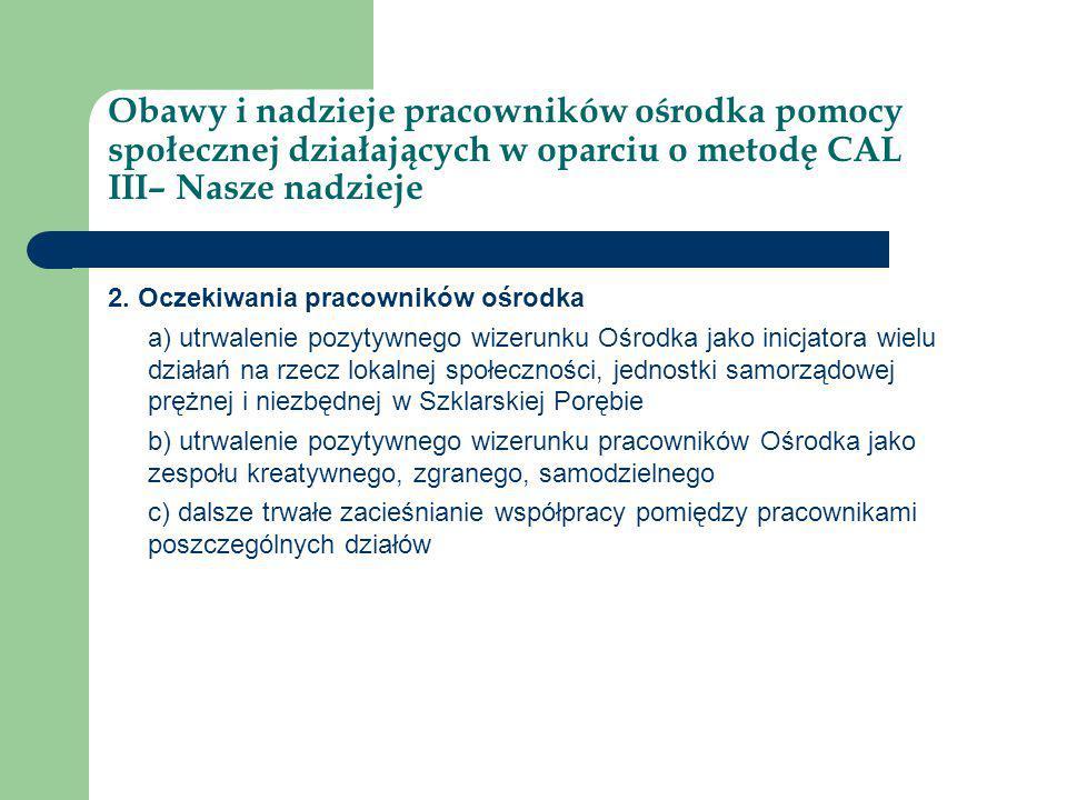 Obawy i nadzieje pracowników ośrodka pomocy społecznej działających w oparciu o metodę CAL III– Nasze nadzieje 3.