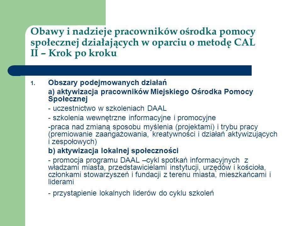 Obawy i nadzieje pracowników ośrodka pomocy społecznej działających w oparciu o metodę CAL II – Krok po kroku 1. Obszary podejmowanych działań a) akty
