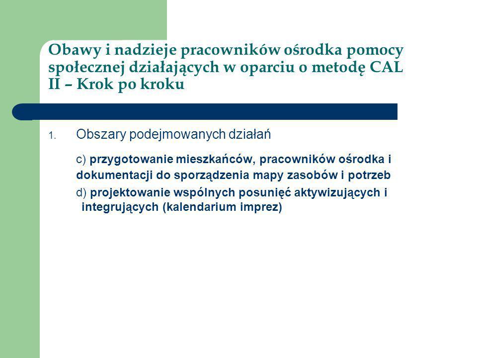Obawy i nadzieje pracowników ośrodka pomocy społecznej działających w oparciu o metodę CAL II – Krok po kroku 1. Obszary podejmowanych działań c) przy
