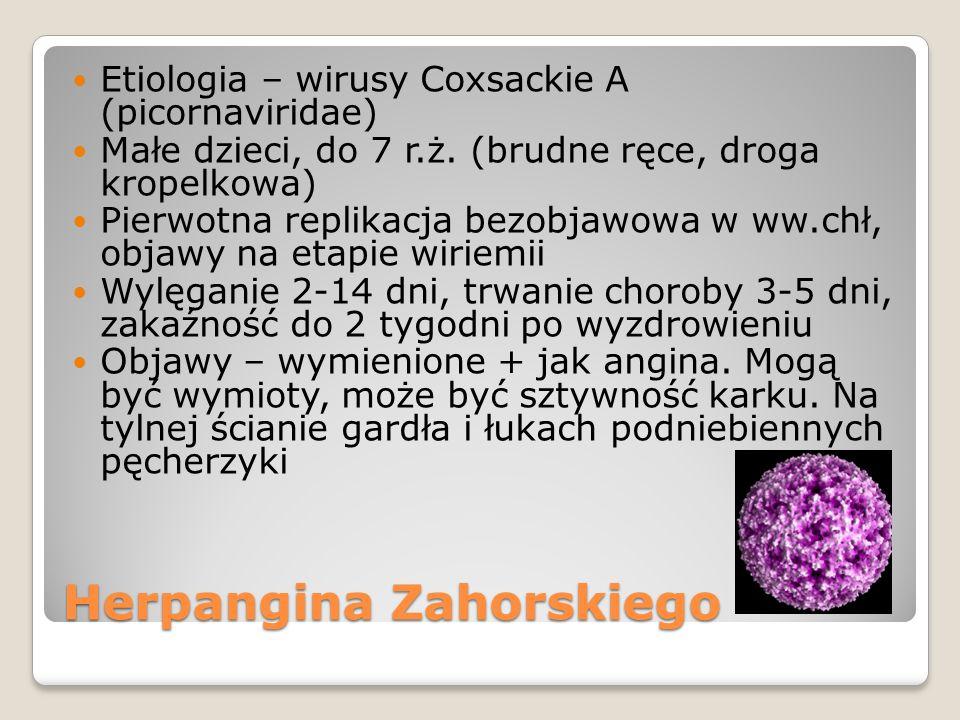 Herpangina Zahorskiego Etiologia – wirusy Coxsackie A (picornaviridae) Małe dzieci, do 7 r.ż. (brudne ręce, droga kropelkowa) Pierwotna replikacja bez