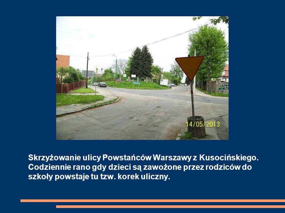 Skrzyżowanie ulicy Powstańców Warszawy z Kusocińskiego.