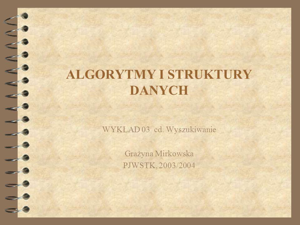 ALGORYTMY I STRUKTURY DANYCH WYKŁAD 03 cd. Wyszukiwanie Grażyna Mirkowska PJWSTK, 2003/2004