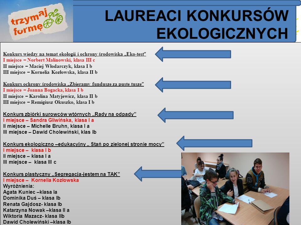 """Konkurs wiedzy na temat ekologii i ochrony środowiska """" Eko-test """" I miejsce – Norbert Malinowski, klasa III c II miejsce – Maciej Włodarczyk, klasa I"""