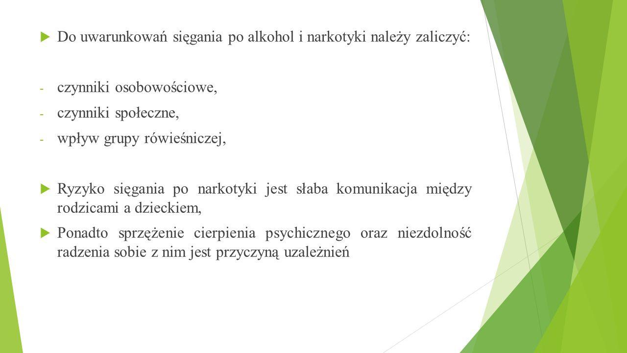  Do uwarunkowań sięgania po alkohol i narkotyki należy zaliczyć: - czynniki osobowościowe, - czynniki społeczne, - wpływ grupy rówieśniczej,  Ryzyko