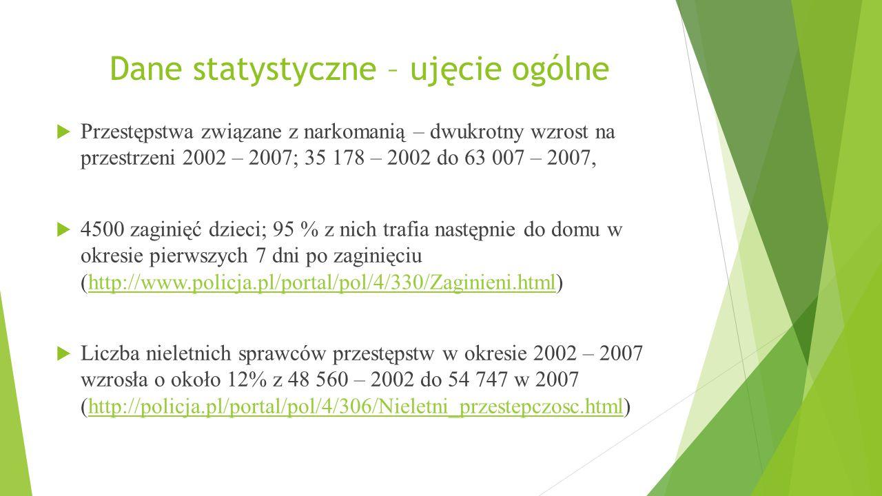 Dane statystyczne – ujęcie ogólne  Przestępstwa związane z narkomanią – dwukrotny wzrost na przestrzeni 2002 – 2007; 35 178 – 2002 do 63 007 – 2007,