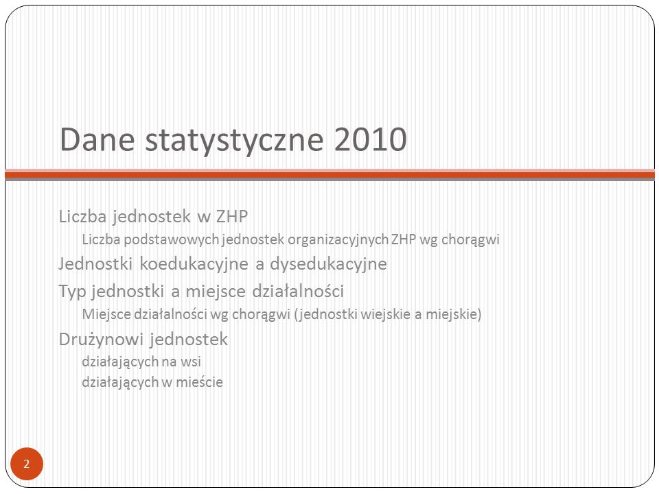 Dane statystyczne 2010 Liczba jednostek w ZHP Liczba podstawowych jednostek organizacyjnych ZHP wg chorągwi Jednostki koedukacyjne a dysedukacyjne Typ
