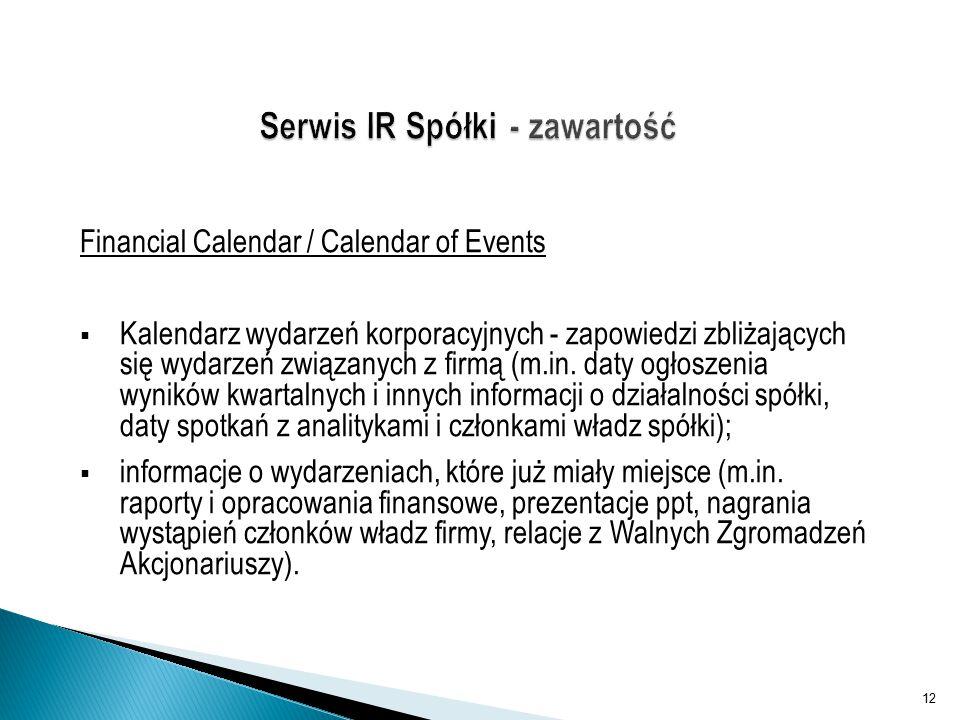Financial Calendar / Calendar of Events  Kalendarz wydarzeń korporacyjnych - zapowiedzi zbliżających się wydarzeń związanych z firmą (m.in.