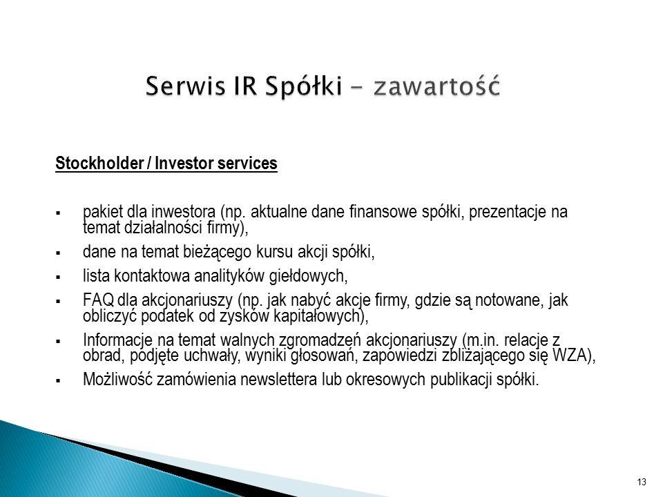 Stockholder / Investor services  pakiet dla inwestora (np.