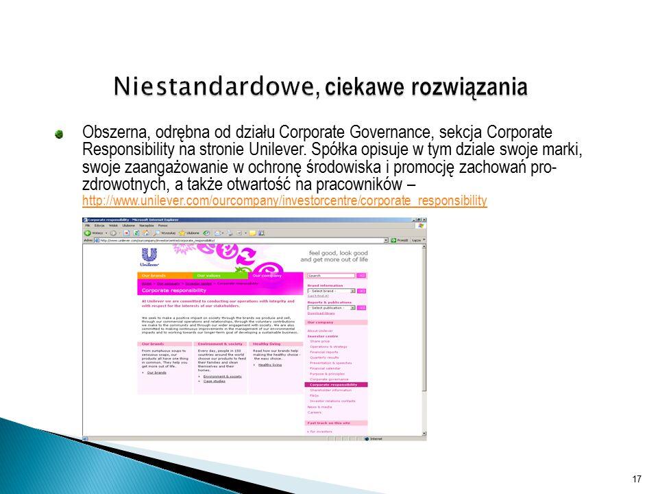 Obszerna, odrębna od działu Corporate Governance, sekcja Corporate Responsibility na stronie Unilever.