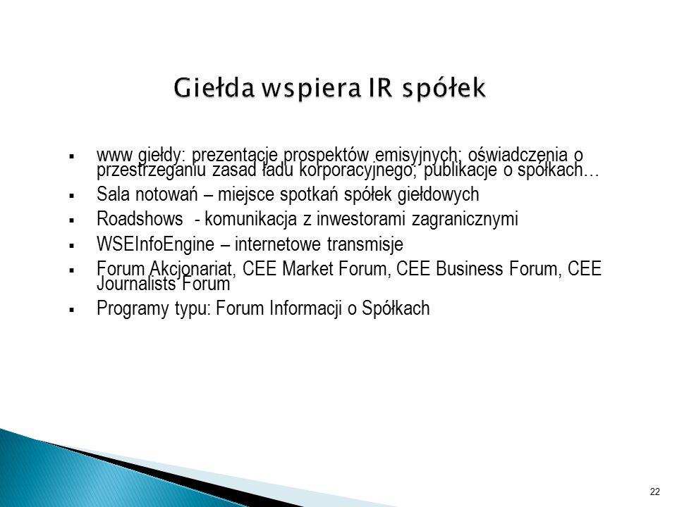  www giełdy: prezentacje prospektów emisyjnych; oświadczenia o przestrzeganiu zasad ładu korporacyjnego; publikacje o spółkach…  Sala notowań – miejsce spotkań spółek giełdowych  Roadshows - komunikacja z inwestorami zagranicznymi  WSEInfoEngine – internetowe transmisje  Forum Akcjonariat, CEE Market Forum, CEE Business Forum, CEE Journalists Forum  Programy typu: Forum Informacji o Spółkach 22