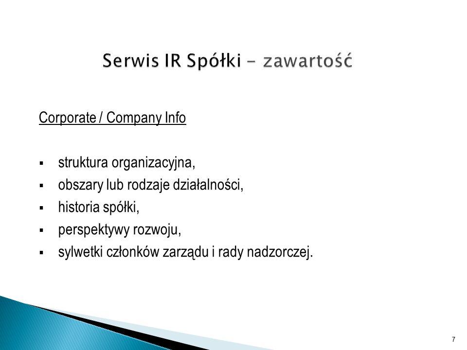 Corporate / Company Info  struktura organizacyjna,  obszary lub rodzaje działalności,  historia spółki,  perspektywy rozwoju,  sylwetki członków zarządu i rady nadzorczej.