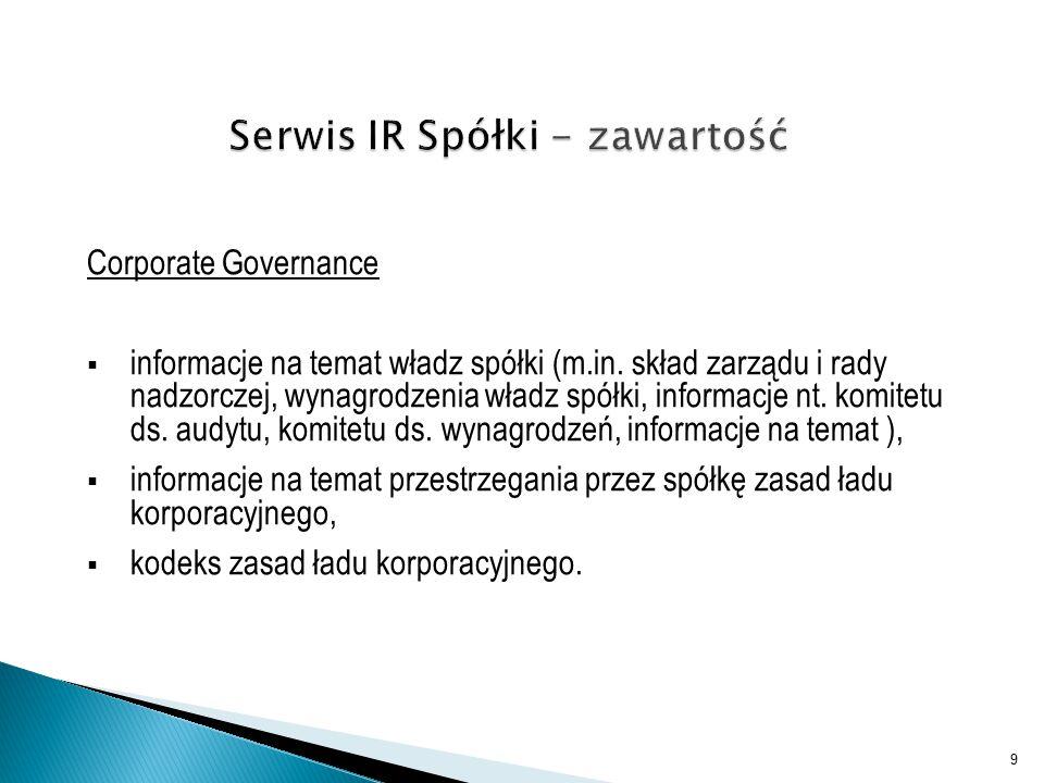 Corporate Governance  informacje na temat władz spółki (m.in.