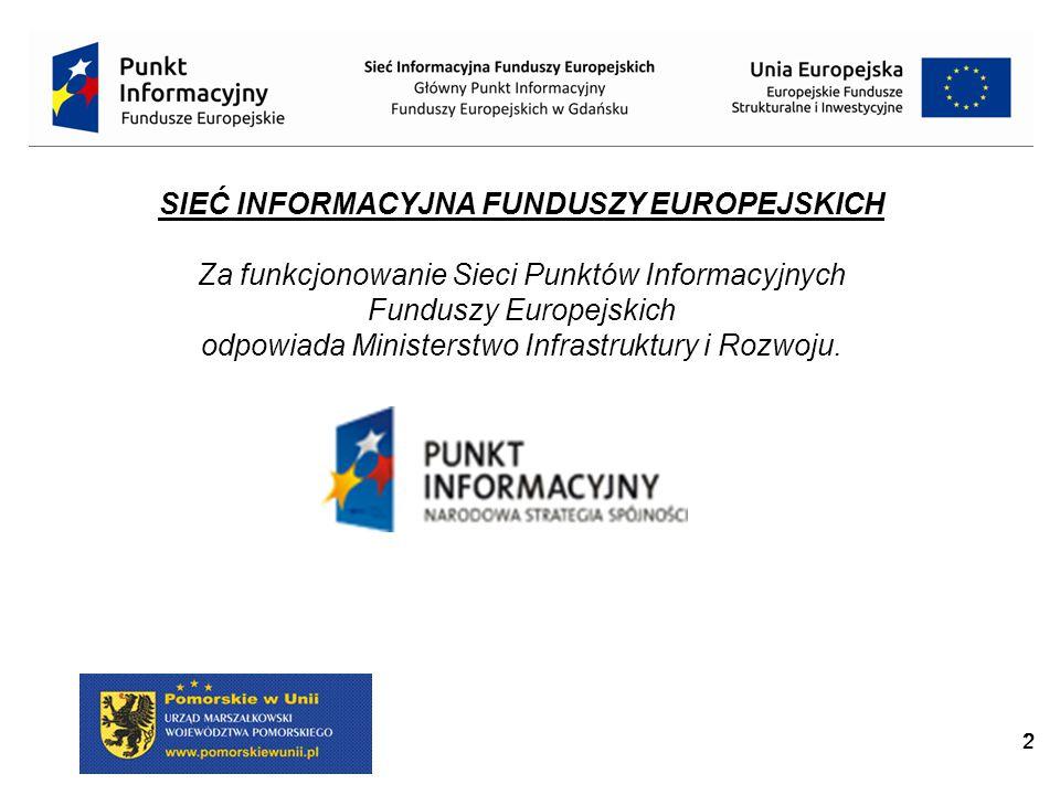 22 SIEĆ INFORMACYJNA FUNDUSZY EUROPEJSKICH Za funkcjonowanie Sieci Punktów Informacyjnych Funduszy Europejskich odpowiada Ministerstwo Infrastruktury