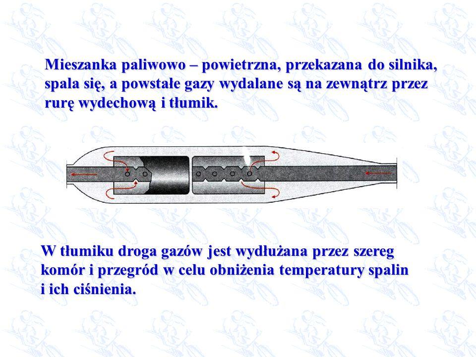 Mieszanka paliwowo – powietrzna, przekazana do silnika, spala się, a powstałe gazy wydalane są na zewnątrz przez rurę wydechową i tłumik. W tłumiku dr