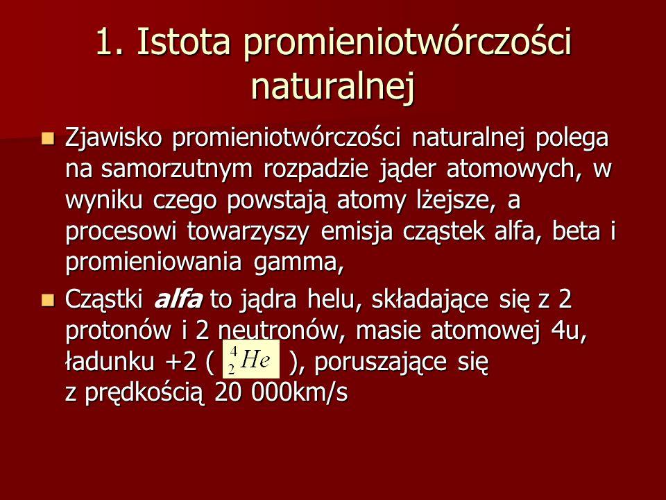 1. Istota promieniotwórczości naturalnej Zjawisko promieniotwórczości naturalnej polega na samorzutnym rozpadzie jąder atomowych, w wyniku czego powst