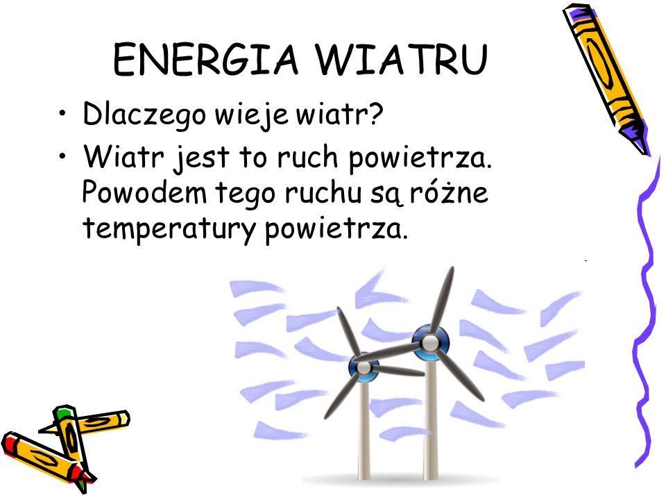 ENERGIA WIATRU Dlaczego wieje wiatr? Wiatr jest to ruch powietrza. Powodem tego ruchu są różne temperatury powietrza.