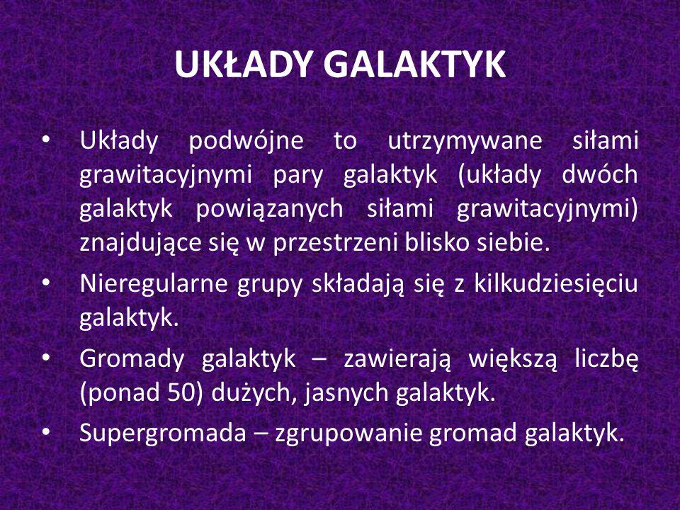 UKŁADY GALAKTYK Układy podwójne to utrzymywane siłami grawitacyjnymi pary galaktyk (układy dwóch galaktyk powiązanych siłami grawitacyjnymi) znajdując