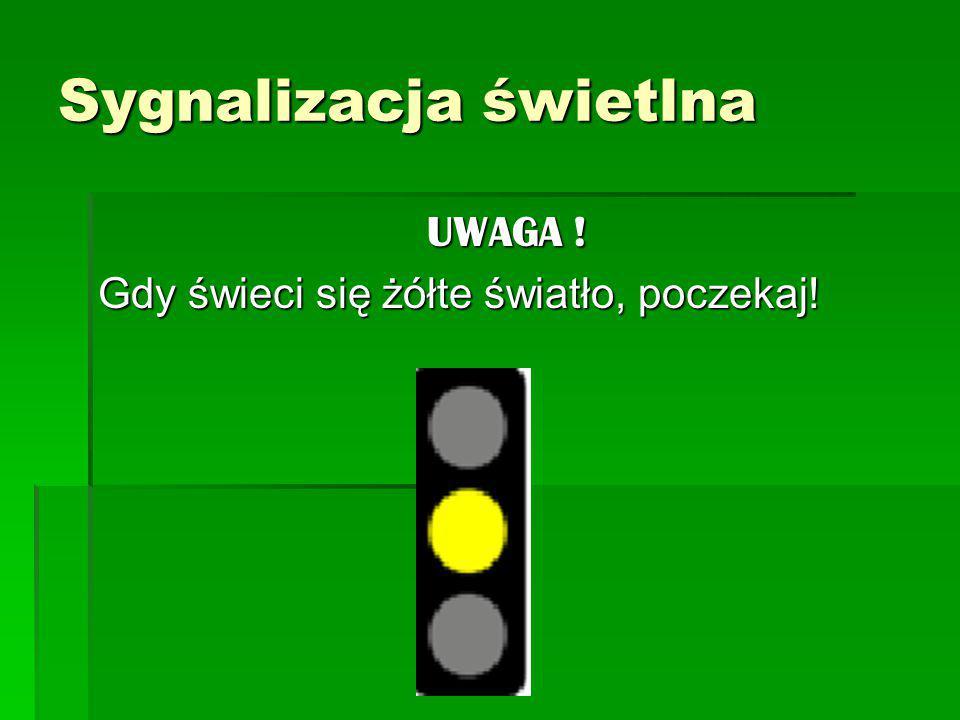 STÓJ ! Gdy świeci się czerwone światło, NIE przechodź na drugą stronę jezdni! Sygnalizacja świetlna