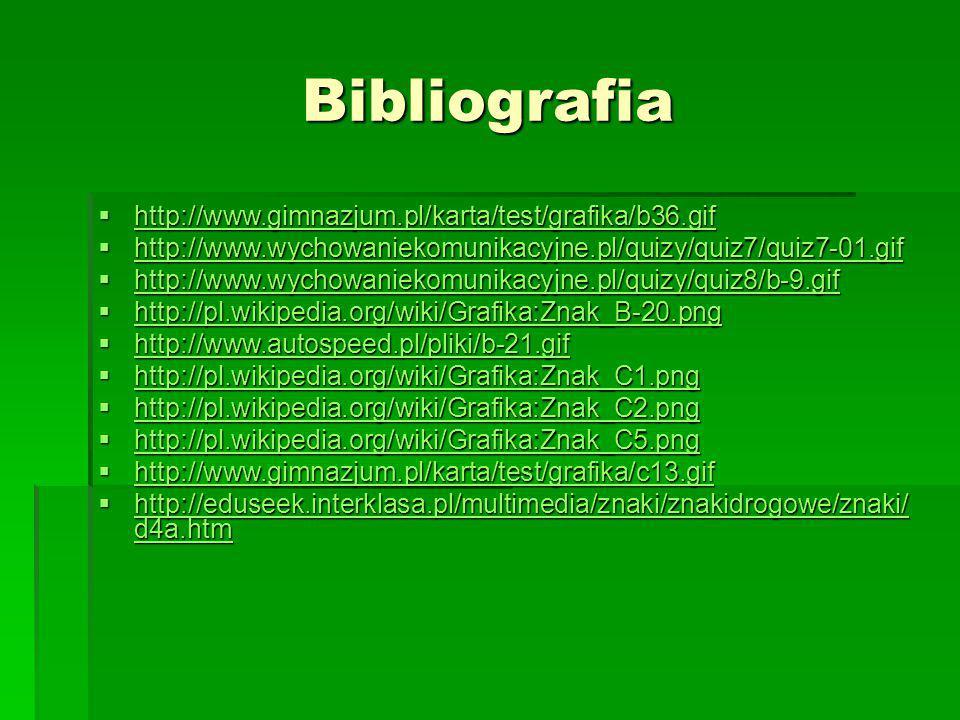 Bibliografia  Wikipedia – Wolna Encyklopedia: www.wikipedia.pl  Strony zawierające informacje o znakach drogowych: www.gimnazjum.pl www.gimnazjum.pl