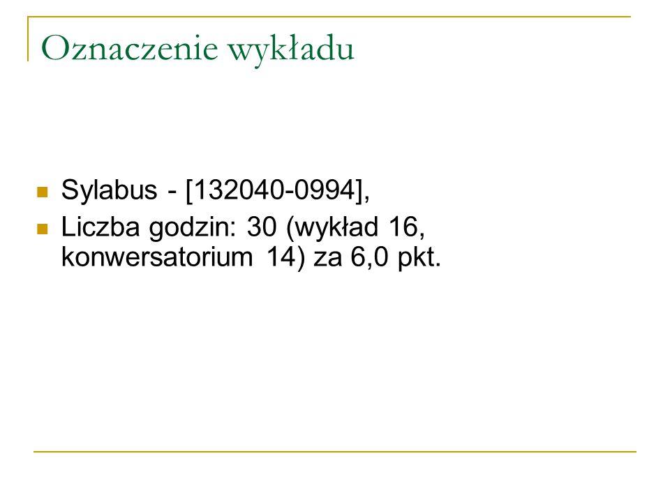 Oznaczenie wykładu Sylabus - [132040-0994], Liczba godzin: 30 (wykład 16, konwersatorium 14) za 6,0 pkt.