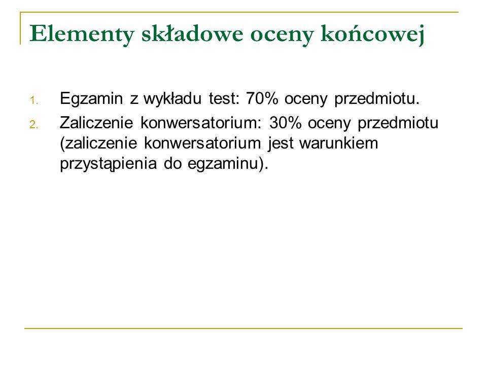 Elementy składowe oceny końcowej 1. Egzamin z wykładu test: 70% oceny przedmiotu. 2. Zaliczenie konwersatorium: 30% oceny przedmiotu (zaliczenie konwe