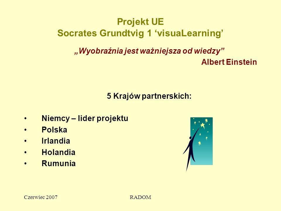 """Czerwiec 2007RADOM Projekt UE Socrates Grundtvig 1 'visuaLearning' """"Wyobraźnia jest ważniejsza od wiedzy Albert Einstein 5 Krajów partnerskich: Niemcy – lider projektu Polska Irlandia Holandia Rumunia"""