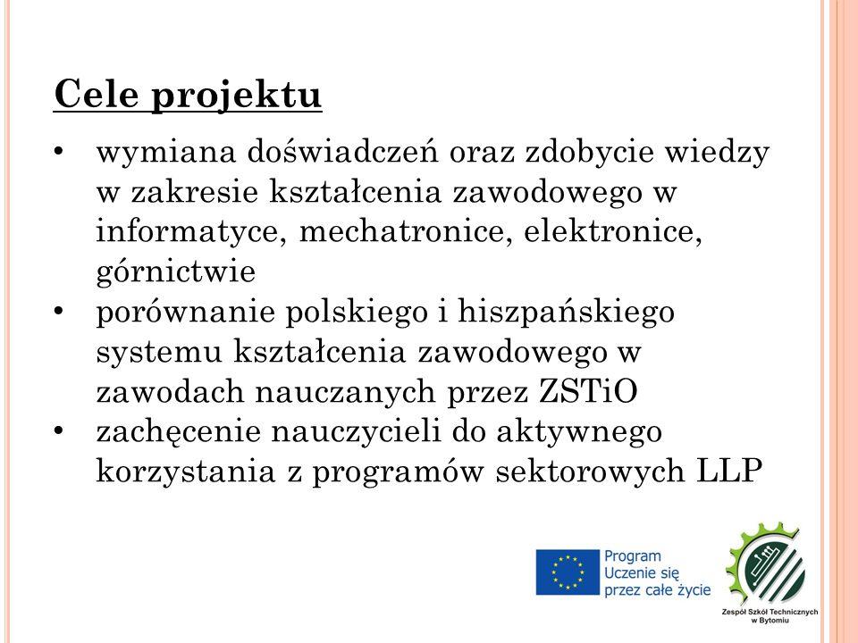 wymiana doświadczeń oraz zdobycie wiedzy w zakresie kształcenia zawodowego w informatyce, mechatronice, elektronice, górnictwie porównanie polskiego i hiszpańskiego systemu kształcenia zawodowego w zawodach nauczanych przez ZSTiO zachęcenie nauczycieli do aktywnego korzystania z programów sektorowych LLP Cele projektu