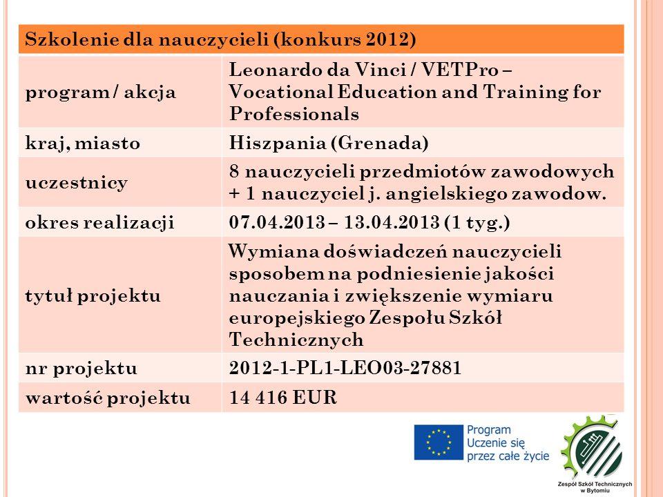 Szkolenie dla nauczycieli (konkurs 2012) program / akcja Leonardo da Vinci / VETPro – Vocational Education and Training for Professionals kraj, miastoHiszpania (Grenada) uczestnicy 8 nauczycieli przedmiotów zawodowych + 1 nauczyciel j.