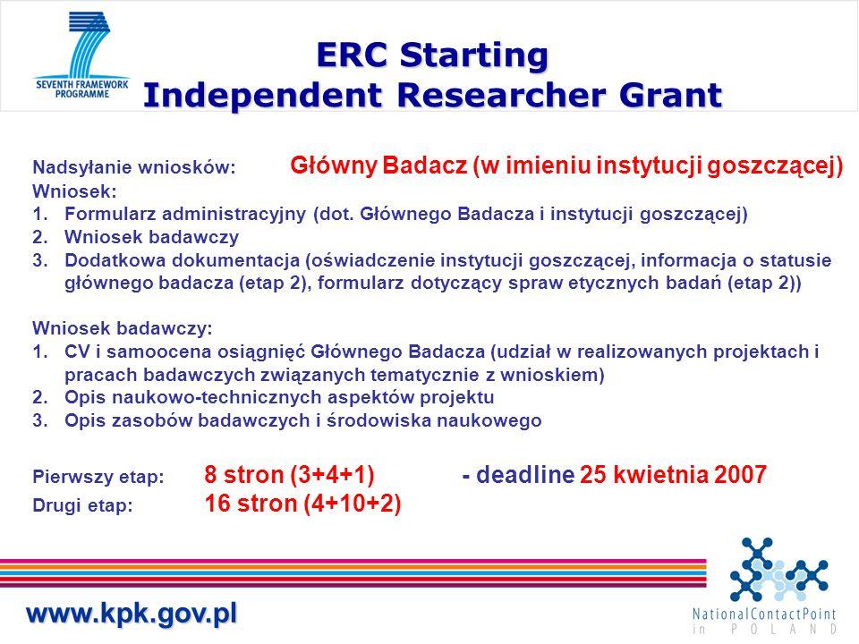 www.kpk.gov.pl ERC Starting Independent Researcher Grant Nadsyłanie wniosków: Główny Badacz (w imieniu instytucji goszczącej) Wniosek: 1.Formularz administracyjny (dot.