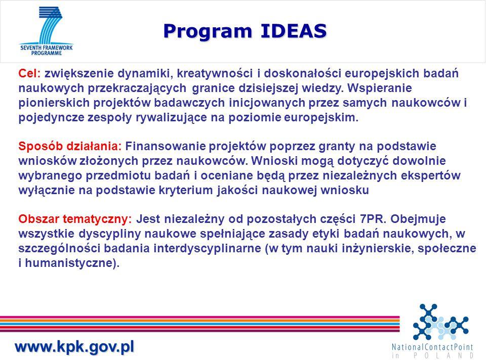 www.kpk.gov.pl Program IDEAS Cel: zwiększenie dynamiki, kreatywności i doskonałości europejskich badań naukowych przekraczających granice dzisiejszej wiedzy.
