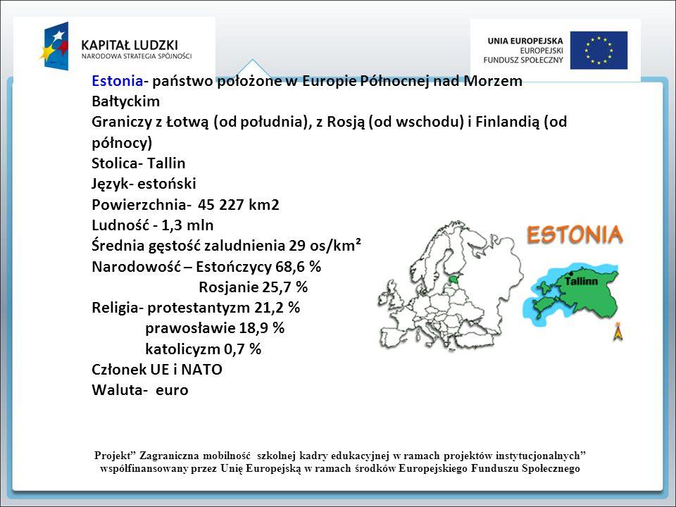 Estonia- państwo położone w Europie Północnej nad Morzem Bałtyckim Graniczy z Łotwą (od południa), z Rosją (od wschodu) i Finlandią (od północy) Stoli
