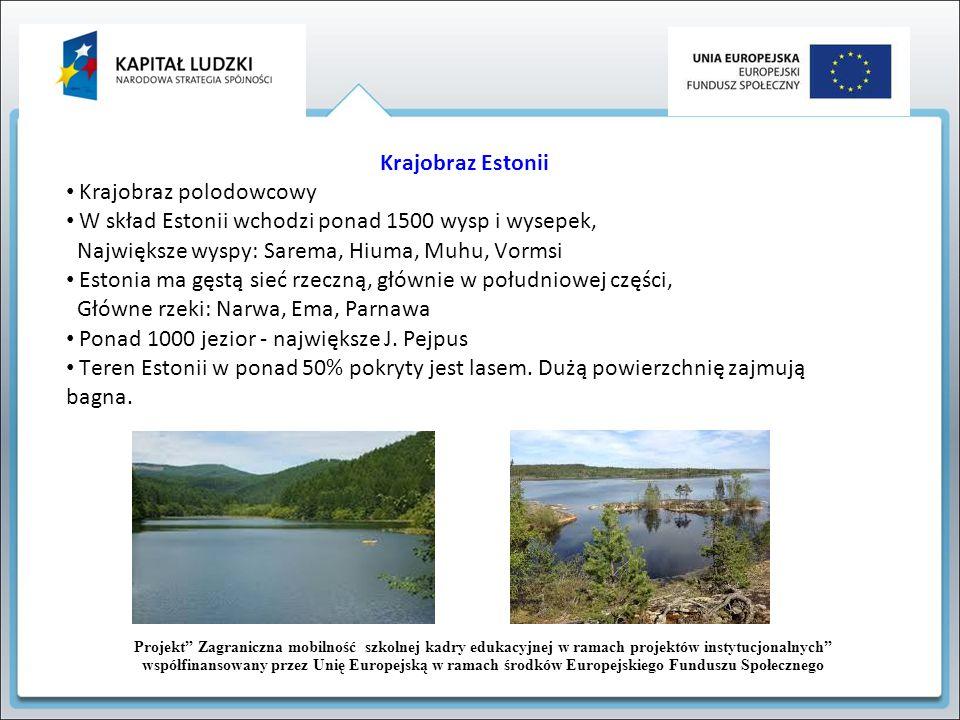 Krajobraz Estonii Krajobraz polodowcowy W skład Estonii wchodzi ponad 1500 wysp i wysepek, Największe wyspy: Sarema, Hiuma, Muhu, Vormsi Estonia ma gę