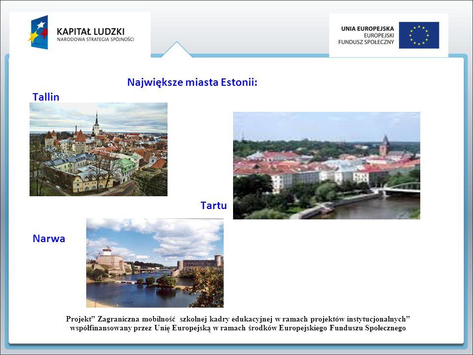 Projekt Zagraniczna mobilność szkolnej kadry edukacyjnej w ramach projektów instytucjonalnych współfinansowany przez Unię Europejską w ramach środków Europejskiego Funduszu Społecznego TALLINN