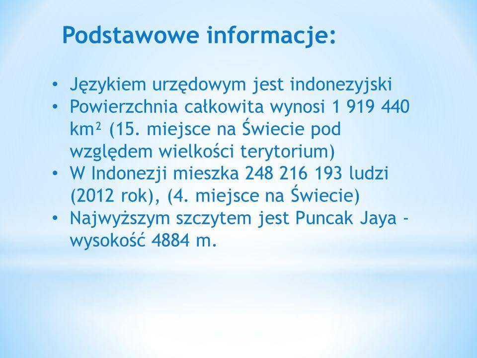 Podstawowe informacje: Językiem urzędowym jest indonezyjski Powierzchnia całkowita wynosi 1 919 440 km² (15. miejsce na Świecie pod względem wielkości