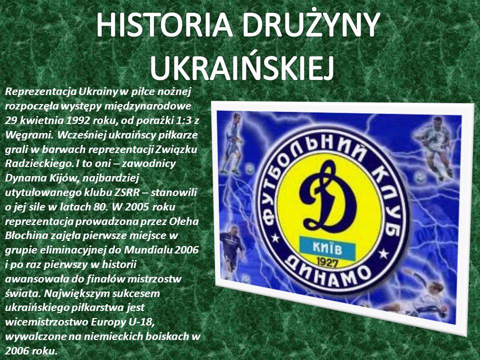 Reprezentacja Ukrainy w piłce nożnej rozpoczęła występy międzynarodowe 29 kwietnia 1992 roku, od porażki 1:3 z Węgrami.