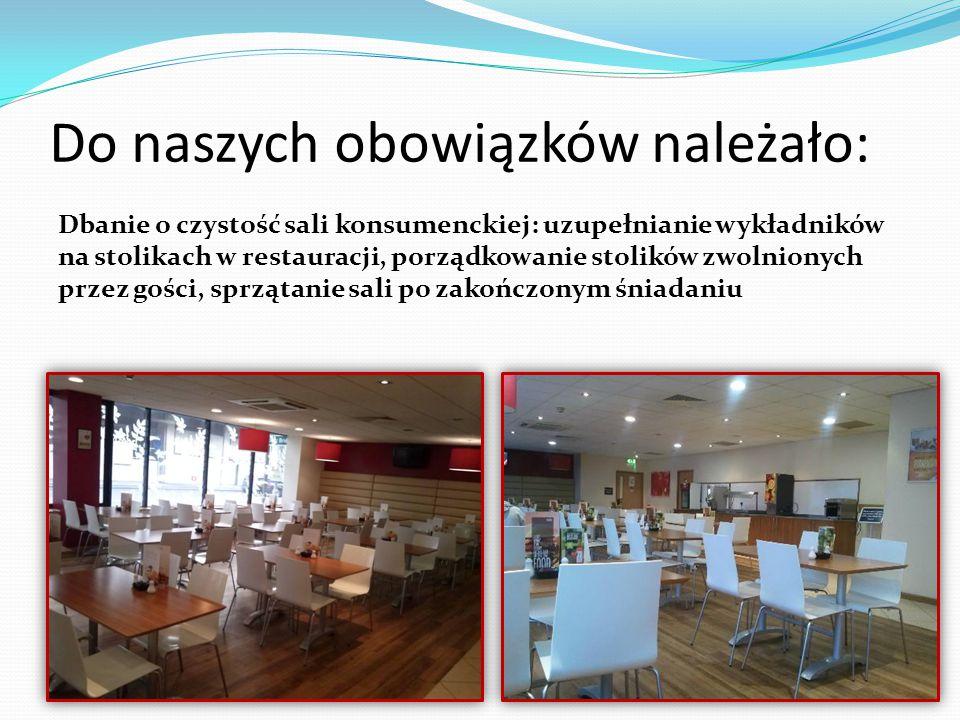 Dbanie o czystość sali konsumenckiej: uzupełnianie wykładników na stolikach w restauracji, porządkowanie stolików zwolnionych przez gości, sprzątanie