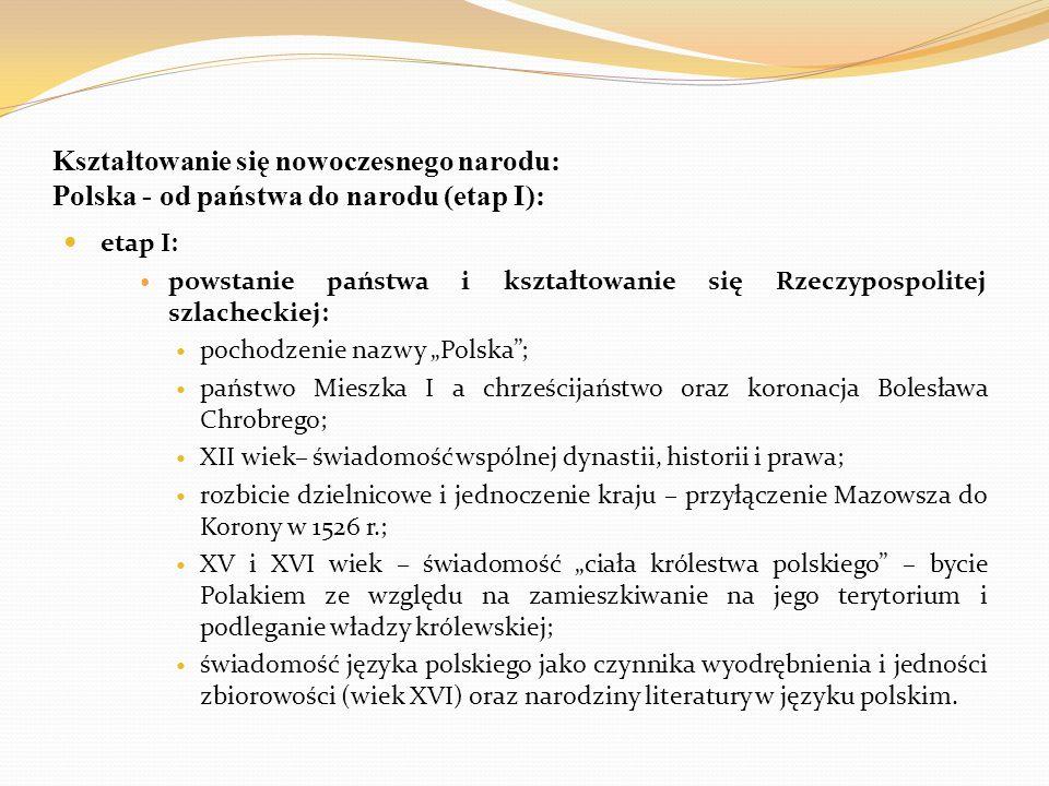 Kształtowanie się nowoczesnego narodu: Polska - od państwa do narodu (etap I): etap I: powstanie państwa i kształtowanie się Rzeczypospolitej szlachec