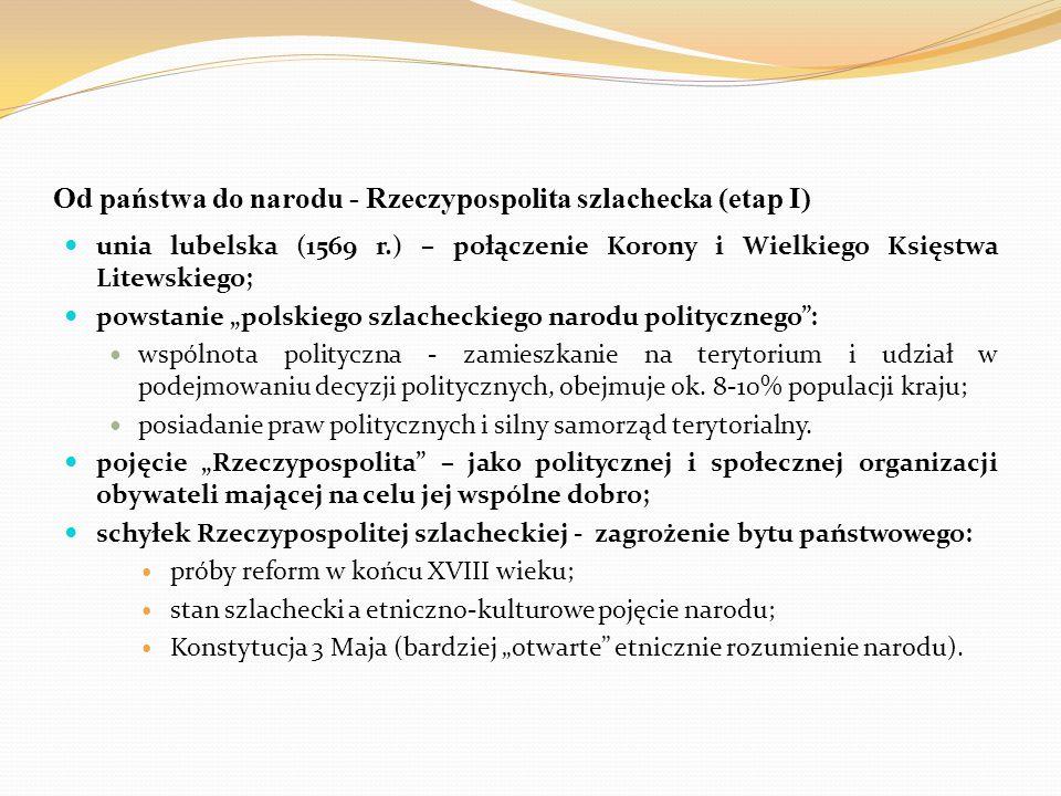 """Od państwa do narodu - Rzeczypospolita szlachecka (etap I) unia lubelska (1569 r.) – połączenie Korony i Wielkiego Księstwa Litewskiego; powstanie """"po"""