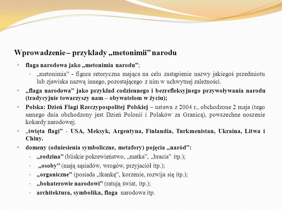 """Wprowadzenie – przykłady """"metonimii"""" narodu flaga narodowa jako """"metonimia narodu""""; """"metonimia"""" - figura retoryczna mająca na celu zastąpienie nazwy j"""