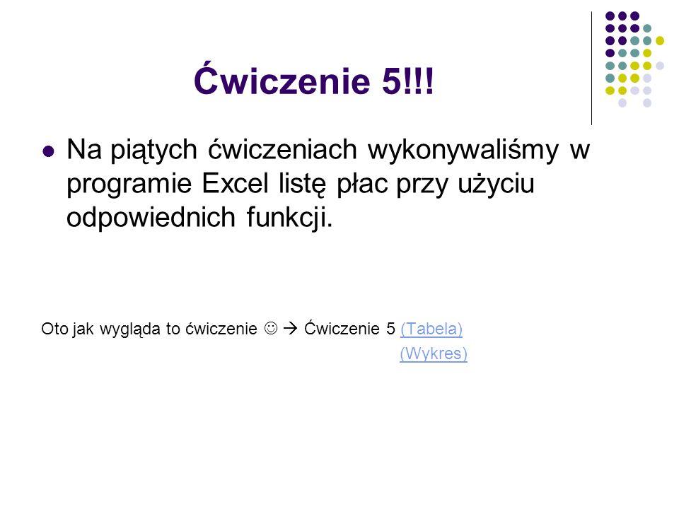 Ćwiczenie 5!!! Na piątych ćwiczeniach wykonywaliśmy w programie Excel listę płac przy użyciu odpowiednich funkcji. Oto jak wygląda to ćwiczenie  Ćwic