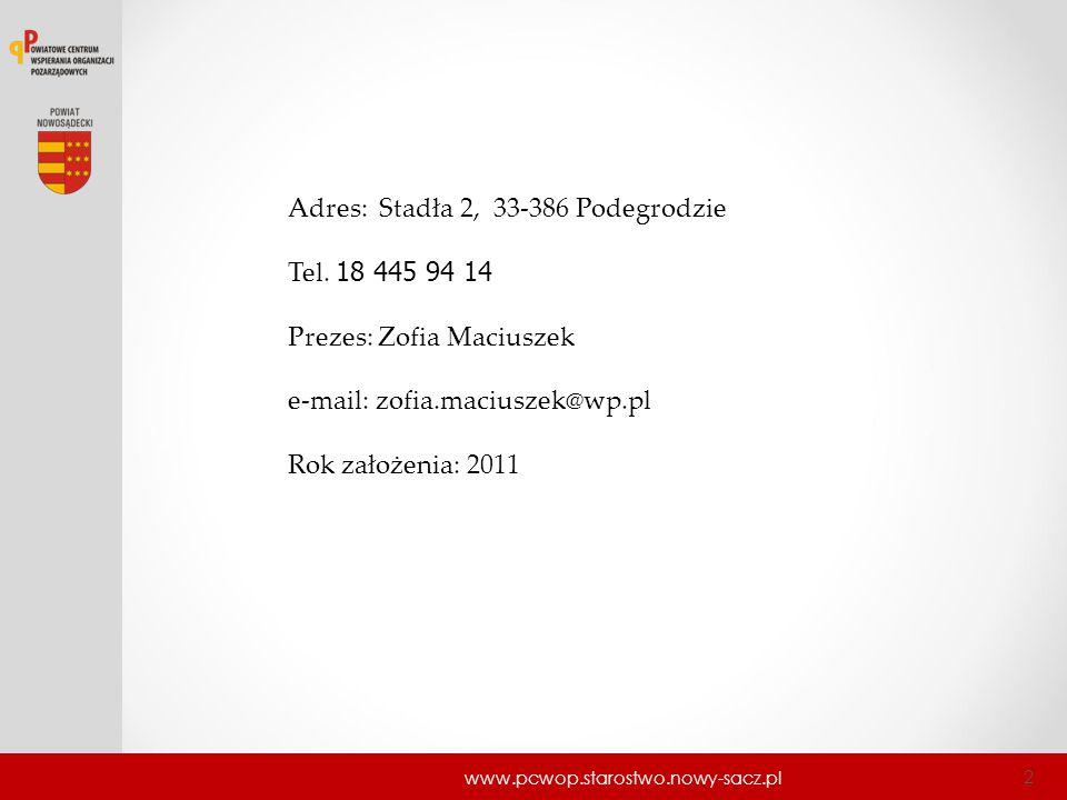 www.pcwop.starostwo.nowy-sacz.pl 2 Adres: Stadła 2, 33-386 Podegrodzie Tel. 18 445 94 14 Prezes: Zofia Maciuszek e-mail: zofia.maciuszek@wp.pl Rok zał