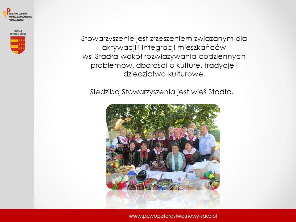 www.pcwop.starostwo.nowy-sacz.pl 3 Stowarzyszenie jest zrzeszeniem związanym dla aktywacji i integracji mieszkańców wsi Stadła wokół rozwiązywania cod