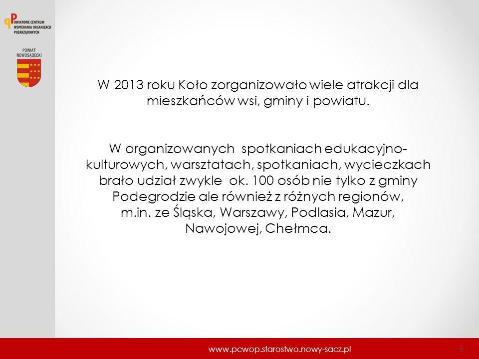 www.pcwop.starostwo.nowy-sacz.pl 6 W 2013 roku Koło zorganizowało wiele atrakcji dla mieszkańców wsi, gminy i powiatu. W organizowanych spotkaniach ed