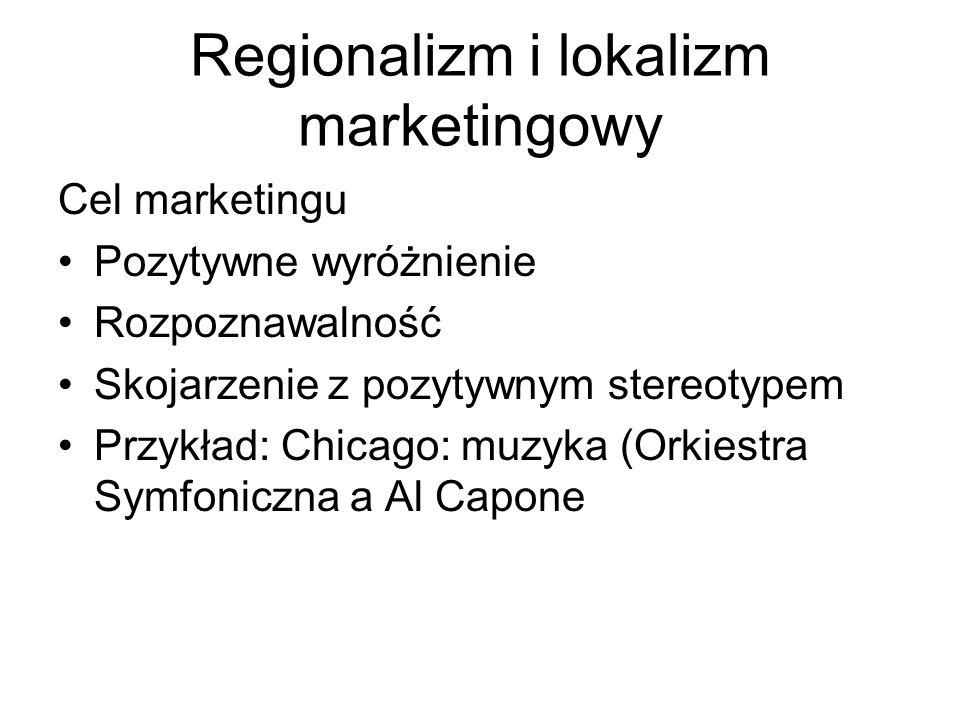 Regionalizm i lokalizm marketingowy Cel marketingu Pozytywne wyróżnienie Rozpoznawalność Skojarzenie z pozytywnym stereotypem Przykład: Chicago: muzyka (Orkiestra Symfoniczna a Al Capone