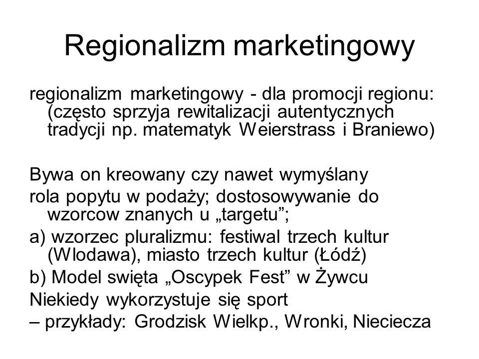 Regionalizm marketingowy regionalizm marketingowy - dla promocji regionu: (często sprzyja rewitalizacji autentycznych tradycji np.
