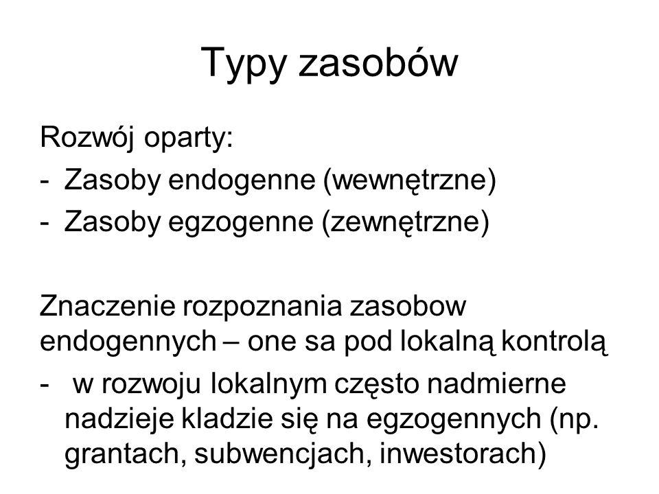 Typy zasobów Rozwój oparty: -Zasoby endogenne (wewnętrzne) -Zasoby egzogenne (zewnętrzne) Znaczenie rozpoznania zasobow endogennych – one sa pod lokalną kontrolą - w rozwoju lokalnym często nadmierne nadzieje kladzie się na egzogennych (np.